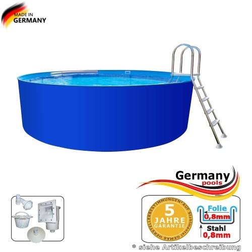 8,00 x 1,25 m Stahlwandbecken Pool