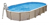 12,50 x 6,40 x 1,32 m Stahlwandpool oval Center Pool freistehend Set