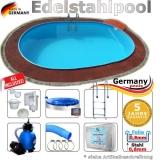 5,5 x 3,6 x 1,25 m Edelstahl Ovalpool Einbau Pool oval Komplettset