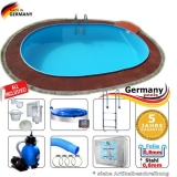 6,10 x 3,60 x 1,20 m Pool oval Komplettset