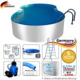 6,25 x 3,60 x 1,25 m Aluminium-Achtformpool Komplettset Alu-Pool