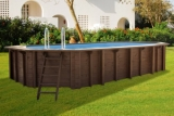 6,40 x 4,00 x 1,33 m Holzpool oval Holzbecken Pool Set
