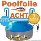 8,55 x 5,00 x 1,20 m x 0,8 Poolfolie achtform bis 1,50 m