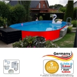 Ovalpool Rot 450 x 300 x 125 cm