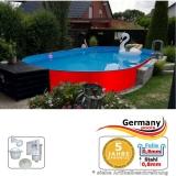 Ovalpool Rot 700 x 350 x 125 cm