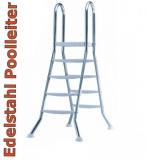 Poolleiter 1,35 m Edelstahl V2A Hochbeckenleiter mit Plattform