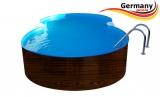 8,55 x 5,0 x 1,2 Achtformbecken Holz-Optik Dark Wood-Muster