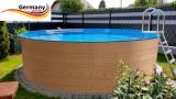 5,50 x 1,20 Holzpool Dekor Holz Design Gartenpool Holz-Optik