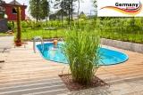 Ovalbecken Holz Design 8,0 x 4,0 x 1,20 m Komplettset