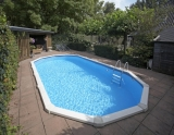 7,30 x 3,60 x 1,32 m Stahlwandpool oval Center Pool freistehend Set