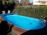 Ovalbecken Blau 7,0 x 3,5 x 1,25 m Komplettset