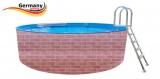 5,0 x 1,2 Schwimmingpool Ziegel-Optik