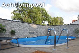 Achtformpool als Stahlwanbecken vom Hersteller Profi-poolwelt dem Experte fuer Swimmingpool zum Garten.